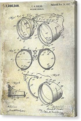 1917 Welders Goggles Patent  Canvas Print by Jon Neidert