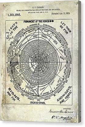 1919 Astrology Patent Canvas Print by Jon Neidert