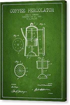 1919 Coffee Percolator Patent - Green Canvas Print