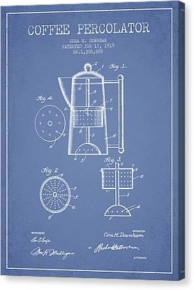 1919 Coffee Percolator Patent - Light Blue Canvas Print