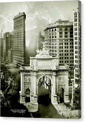1919 Flatiron Building With The Victory Arch Canvas Print by Jon Neidert