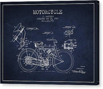 1919 Motorcycle Patent - Navy Blue Canvas Print by Aged Pixel
