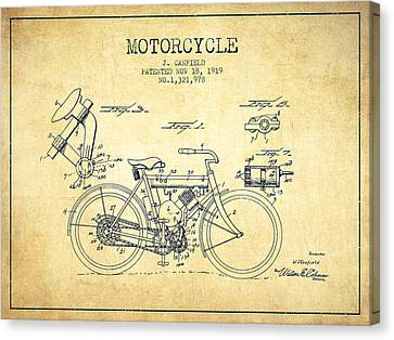 1919 Motorcycle Patent - Vintage Canvas Print by Aged Pixel