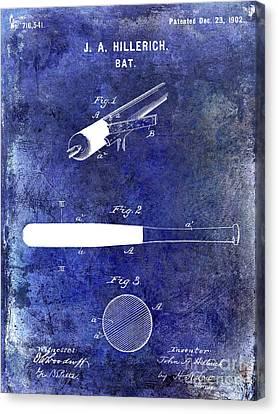 1920 Baseball Bat Patent Blue Canvas Print by Jon Neidert