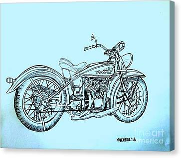 Abstract Digital Canvas Print - 1920 Indian Motorcycle - Blue Abstract Background by Scott D Van Osdol