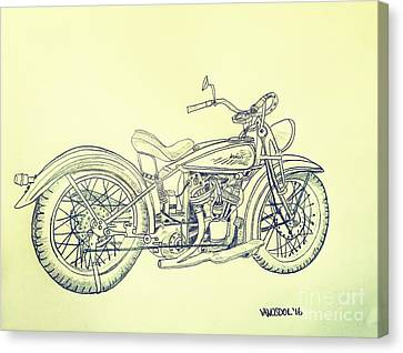Abstract Digital Canvas Print - 1920 Indian Motorcycle Graphite Pencil - Aged  by Scott D Van Osdol