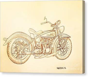 1920 Indian Motorcycle Graphite Pencil - Sepia Canvas Print by Scott D Van Osdol