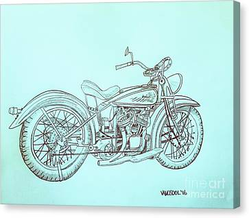 Abstract Digital Canvas Print - 1920 Indian Motorcycle Graphite Pencil Sketch - Blue Background by Scott D Van Osdol