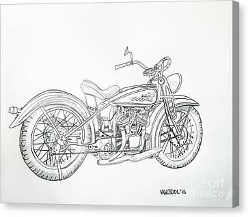 Abstract Digital Canvas Print - 1920 Indian Motorcycle Graphite Pencil Sketch by Scott D Van Osdol