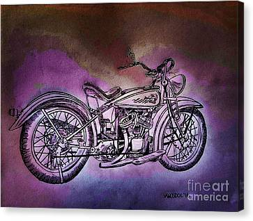1920 Indian Motorcycle - Purple Rain Canvas Print by Scott D Van Osdol