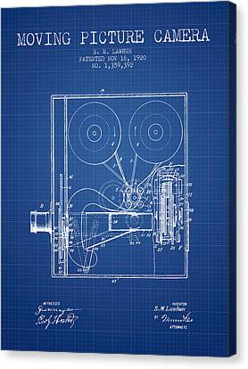 1920 Moving Picture Camera Patent - Blueprint Canvas Print by Aged Pixel