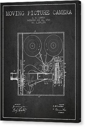 1920 Moving Picture Camera Patent - Charcoal Canvas Print by Aged Pixel