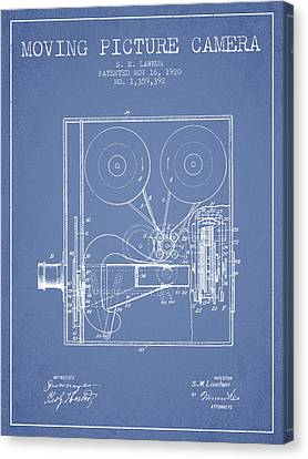 1920 Moving Picture Camera Patent - Light Blue Canvas Print by Aged Pixel