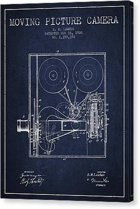 1920 Moving Picture Camera Patent - Navy Blue Canvas Print by Aged Pixel