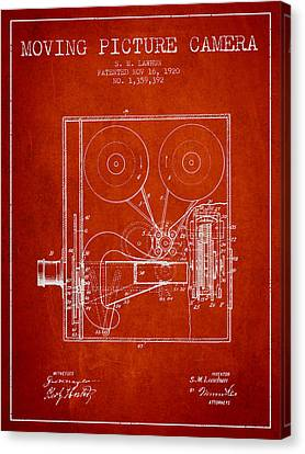 1920 Moving Picture Camera Patent - Red Canvas Print by Aged Pixel