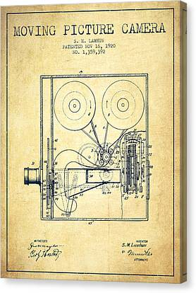 1920 Moving Picture Camera Patent - Vintage Canvas Print by Aged Pixel