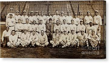 Baseball Glove Canvas Print - 1920 New York Giants Team by Jon Neidert
