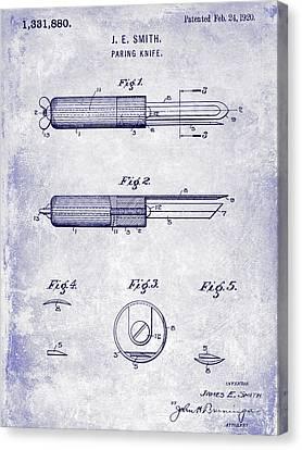 1920 Paring Knife Patent Blueprint Canvas Print