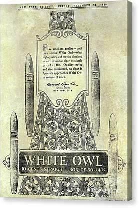 1920 White Owl Cigar Advertisement Canvas Print by Jon Neidert