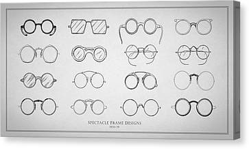 Optometrist Canvas Print - 1920s Spectacle Designs by Mark Rogan