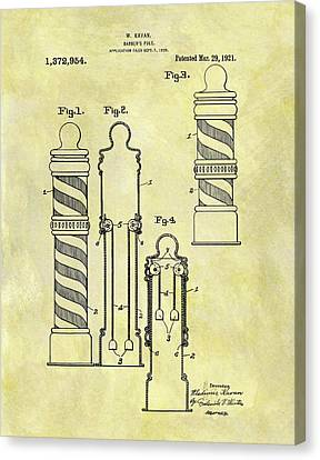 1921 Barber Pole Patent Canvas Print by Dan Sproul