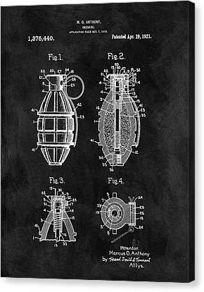 1921 Hand Grenade Patent Illustration Canvas Print by Dan Sproul
