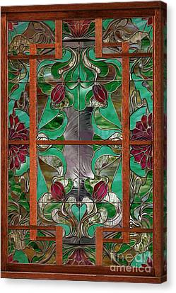 1922 Art Nouveau Stained Glass Panel Canvas Print by Mindy Sommers
