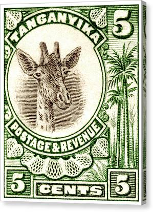 Canvas Print featuring the painting 1922 East African Giraffe Stamp by Historic Image