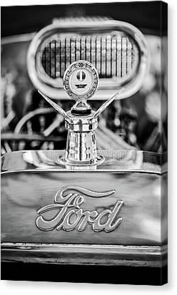 1922 Ford T-bucket Hood Ornament - Emblem -0630bw Canvas Print by Jill Reger