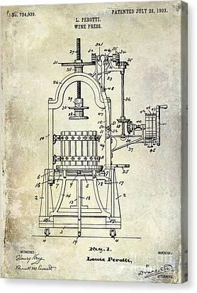 1922 Wine Press Patent Canvas Print by Jon Neidert