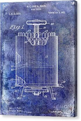 1922 Wine Press Patent Blue Canvas Print by Jon Neidert