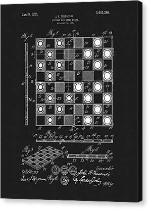 1923 Checkers And Chess Board Canvas Print by Dan Sproul