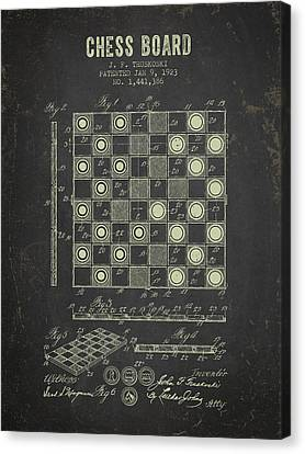 1923 Chess Board Patent - Dark Grunge Canvas Print