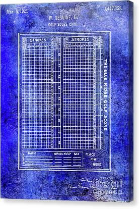 Scoring Canvas Print - 1923 Golf Score Card Patent Blue by Jon Neidert