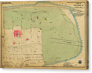 Canvas Print featuring the photograph 1923 Inwood Hill Map  by Cole Thompson