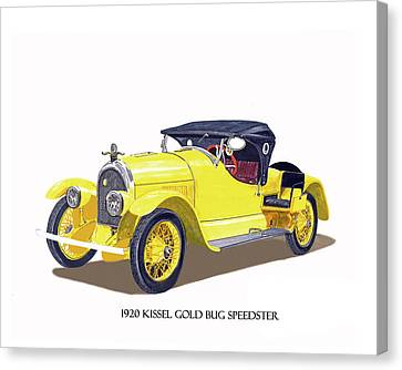 Canvas Print featuring the painting 1923 Kissel Kar  Gold Bug Speedster by Jack Pumphrey
