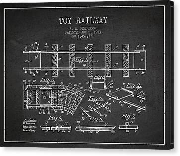 1923 Toy Railway Patent - Charcoal Canvas Print