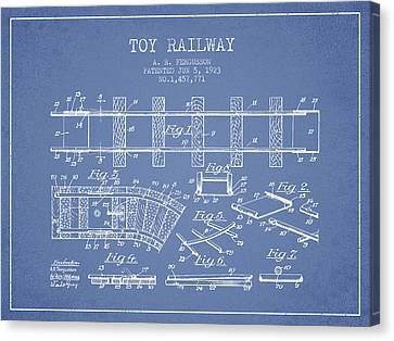 Vintage Trains Canvas Print - 1923 Toy Railway Patent - Light Blue by Aged Pixel