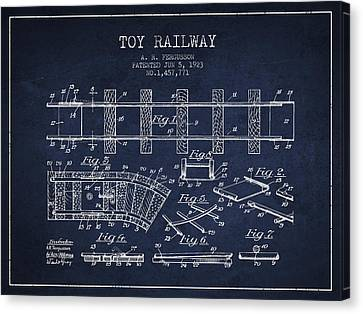 1923 Toy Railway Patent - Navy Blue Canvas Print