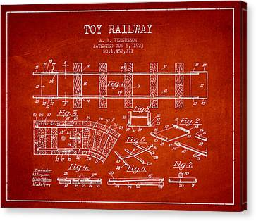 Vintage Trains Canvas Print - 1923 Toy Railway Patent - Red by Aged Pixel