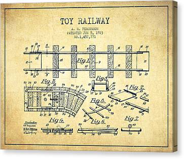 1923 Toy Railway Patent - Vintage Canvas Print