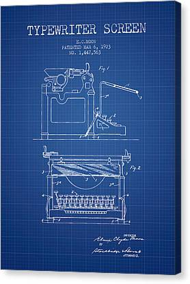 1923 Typewriter Screen Patent - Blueprint Canvas Print by Aged Pixel