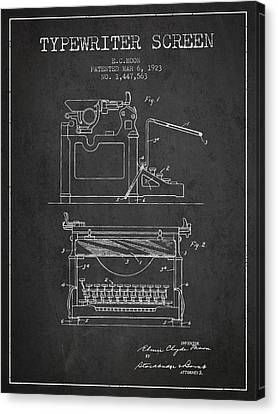 1923 Typewriter Screen Patent - Charcoal Canvas Print by Aged Pixel