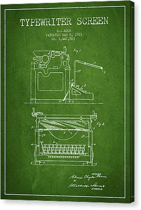 1923 Typewriter Screen Patent - Green Canvas Print by Aged Pixel