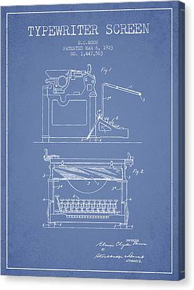 1923 Typewriter Screen Patent - Light Blue Canvas Print by Aged Pixel