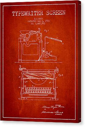 1923 Typewriter Screen Patent - Red Canvas Print by Aged Pixel