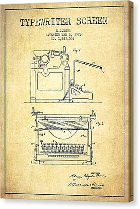 1923 Typewriter Screen Patent - Vintage Canvas Print by Aged Pixel