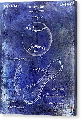 Baseball Canvas Print - 1924 Baseball Patent Blue by Jon Neidert