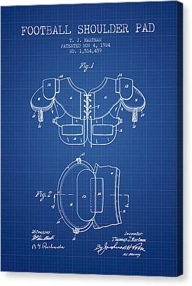 1924 Football Shoulder Pad Patent - Blueprint Canvas Print by Aged Pixel