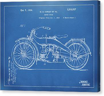 Horsepower Canvas Print - 1924 Harley Motorcycle Patent Artwork Blueprint by Nikki Marie Smith